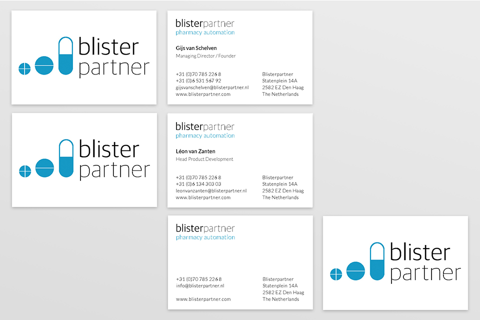 Blisterpartner business cards - door Studio Formgiving