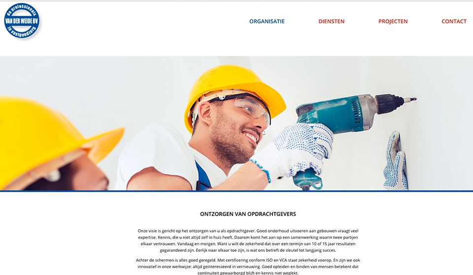 Website Van der Weide door Studio Formgiving